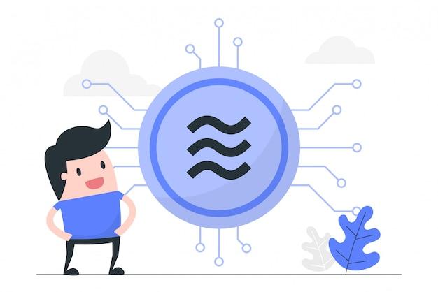Ilustración del concepto de moneda digital. Vector Premium