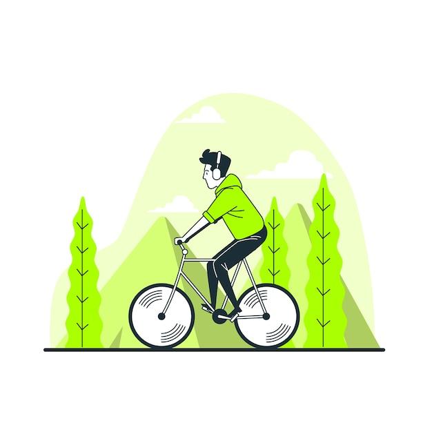 Ilustración del concepto de montar en bicicleta vector gratuito