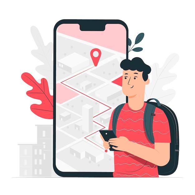Ilustración de concepto navegación vector gratuito