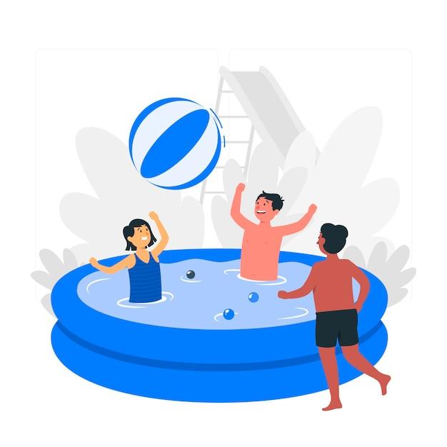Ilustración del concepto de niños jugando en la piscina vector gratuito