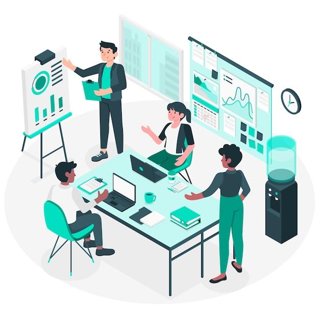 Ilustración del concepto de en la oficina vector gratuito