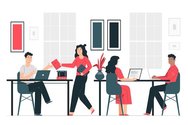 Ilustración de concepto en la oficina vector gratuito