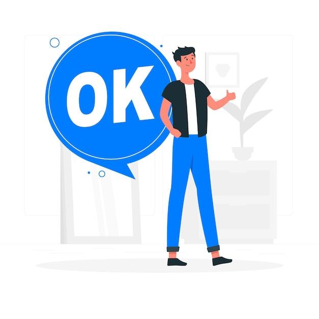 Ilustración del concepto de ok vector gratuito