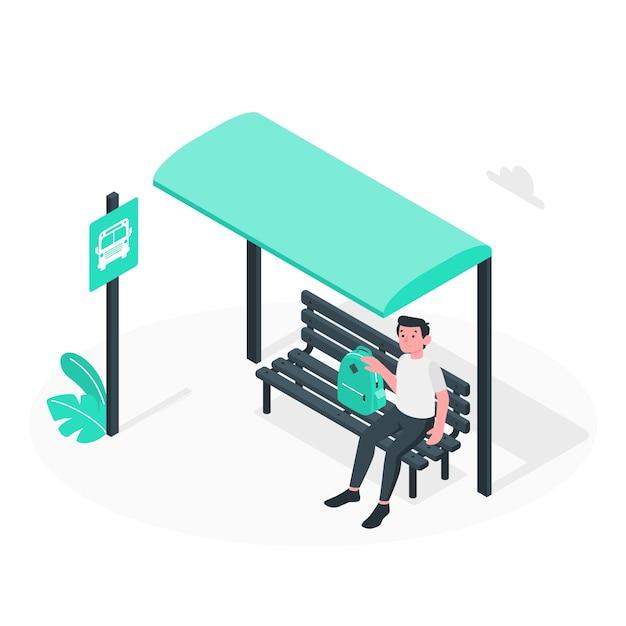Ilustración del concepto de parada de autobús vector gratuito