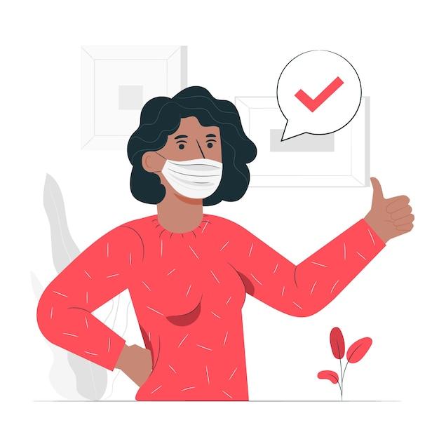 Ilustración del concepto de persona con mascarilla médica vector gratuito