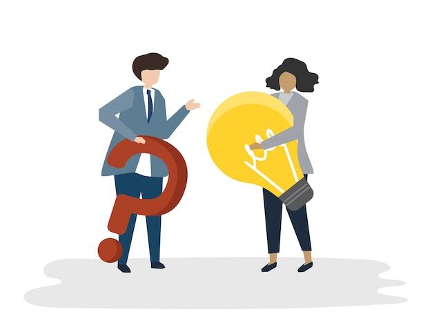 Ilustración del concepto de plan de negocios de avatar de personas vector gratuito