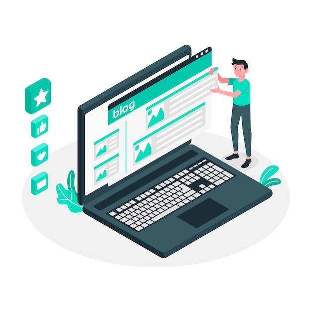 Ilustración de concepto de post de blog vector gratuito