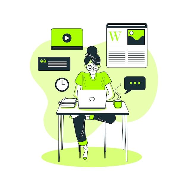 Ilustración del concepto de publicación en el blog vector gratuito