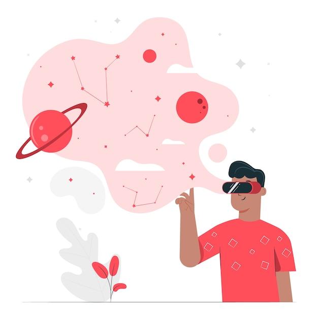 Ilustración de concepto realidad virtual vector gratuito