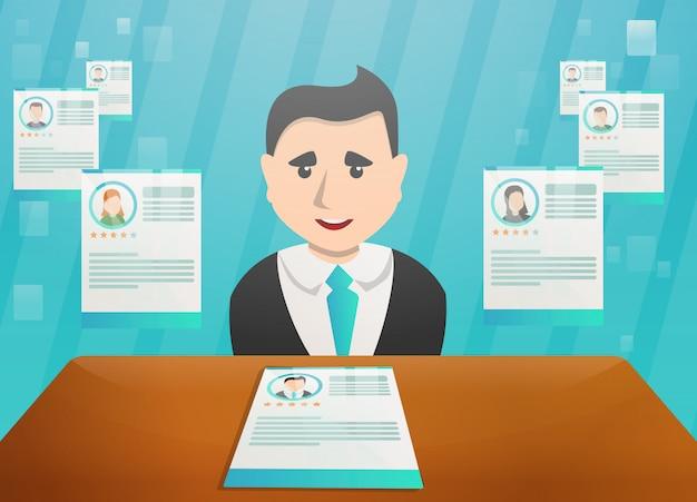 Ilustración del concepto de reclutamiento en estilo de dibujos animados Vector Premium