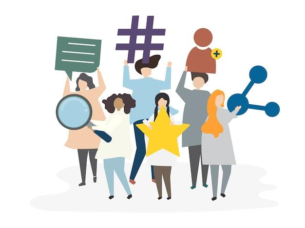 Ilustración del concepto de red social avatar vector gratuito