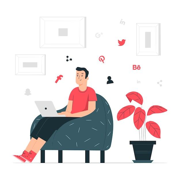 Ilustración de concepto red social vector gratuito