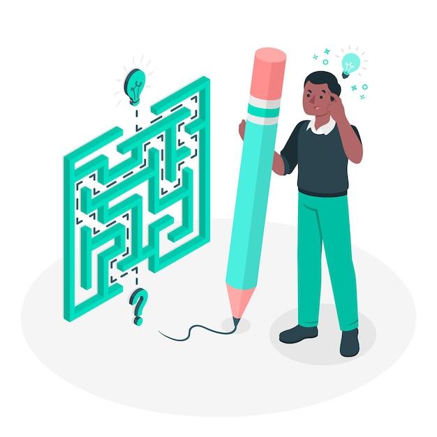 Ilustración del concepto de resolución de problemas (laberinto) vector gratuito