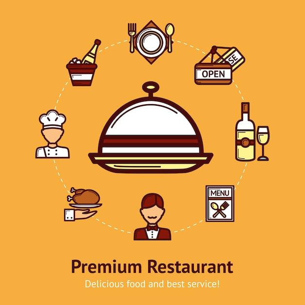 Ilustración del concepto de restaurante vector gratuito