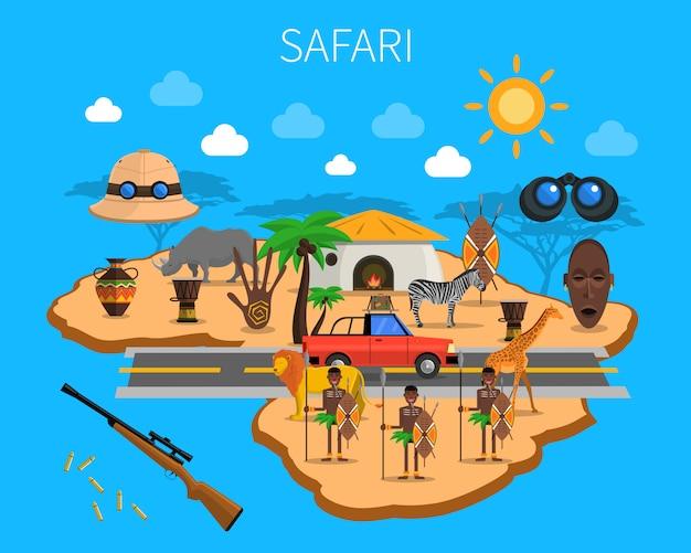 Ilustración del concepto de safari vector gratuito