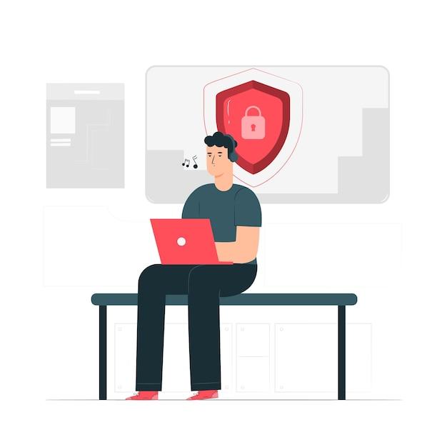Ilustración del concepto de seguridad vector gratuito