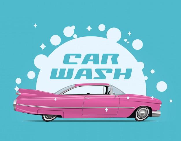 Ilustración del concepto de servicio de lavado de autos con vista lateral de dibujos animados retro coche rosa y bombillas de jabón blanco y subtítulo de lavado de coches. Vector Premium