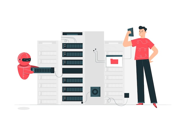 Ilustración del concepto de servidor vector gratuito