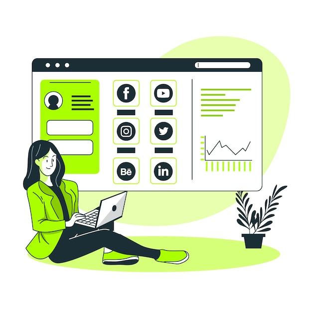 Ilustración de concepto de tablero social vector gratuito