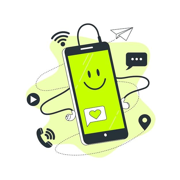 Ilustración del concepto de teléfono inteligente vector gratuito