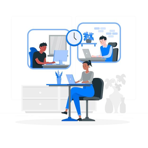 Ilustración del concepto de teletrabajo vector gratuito