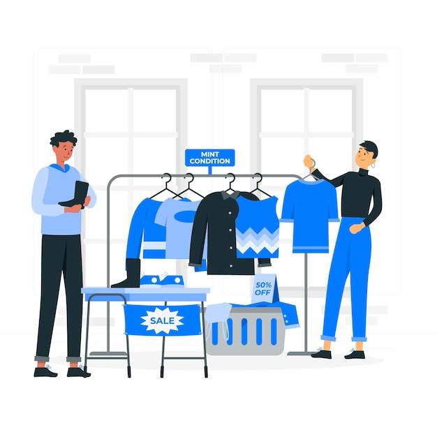 Ilustración de concepto de tienda de segunda mano vector gratuito