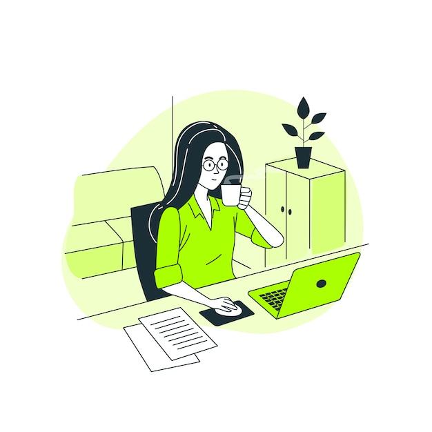 Ilustración del concepto de trabajador autónomo vector gratuito