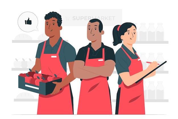 Ilustración del concepto de trabajadores de supermercado vector gratuito