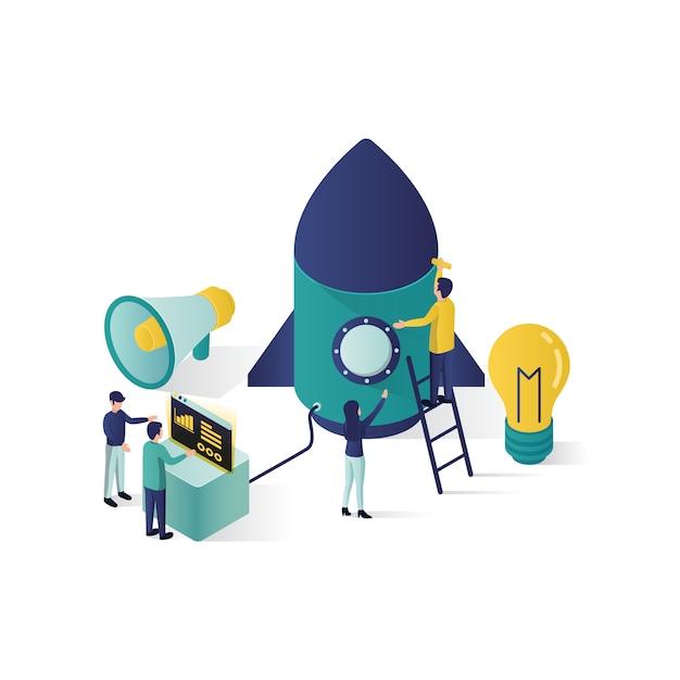 Ilustración de concepto de trabajo en equipo ilustración isométrica cooperación concepto de asociación en estilo isométrico. Vector Premium