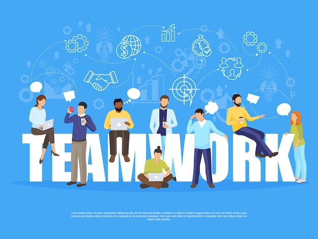 Ilustración del concepto de trabajo en equipo vector gratuito