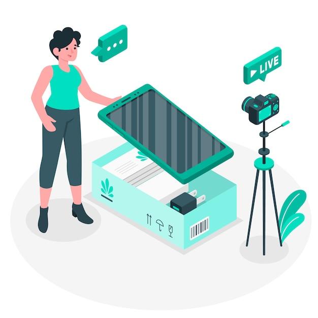 Ilustración del concepto de unboxing vector gratuito