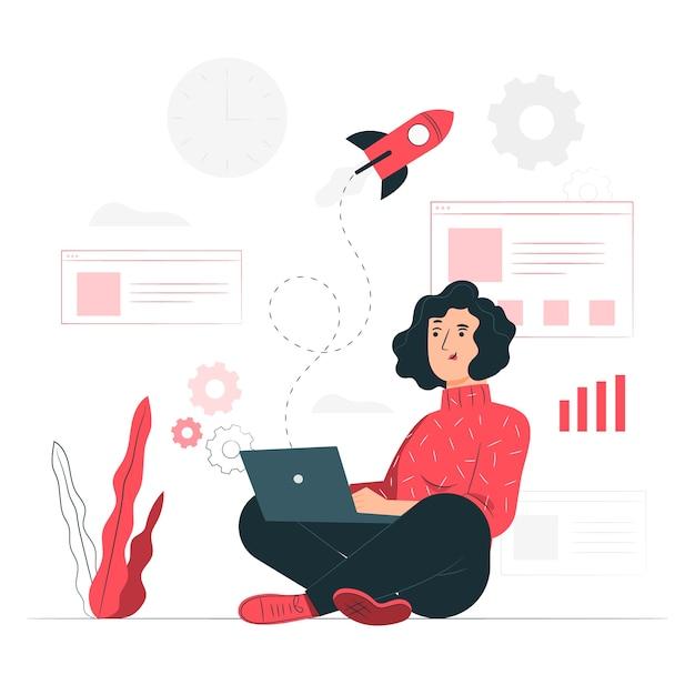 Ilustración del concepto de vida de startup vector gratuito
