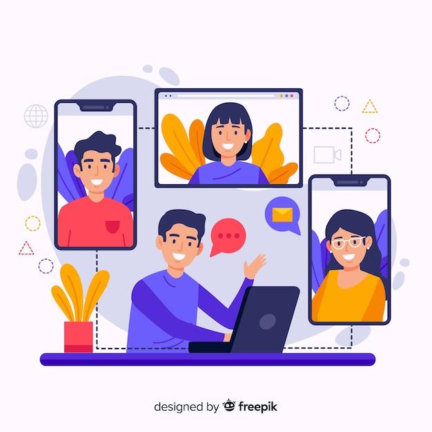 Ilustración del concepto de videoconferencia Vector Premium