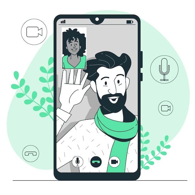 Ilustración del concepto de videollamada vector gratuito