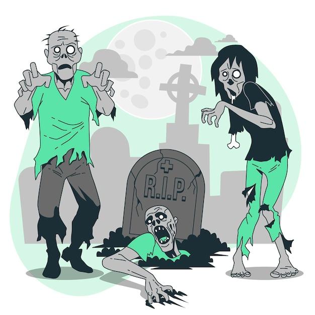 Ilustración del concepto de zombies vector gratuito