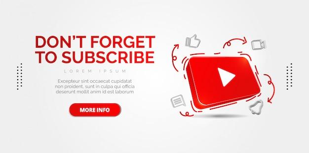 Ilustración conceptual abstracta del icono de youtube 3d aislado en blanco. Vector Premium