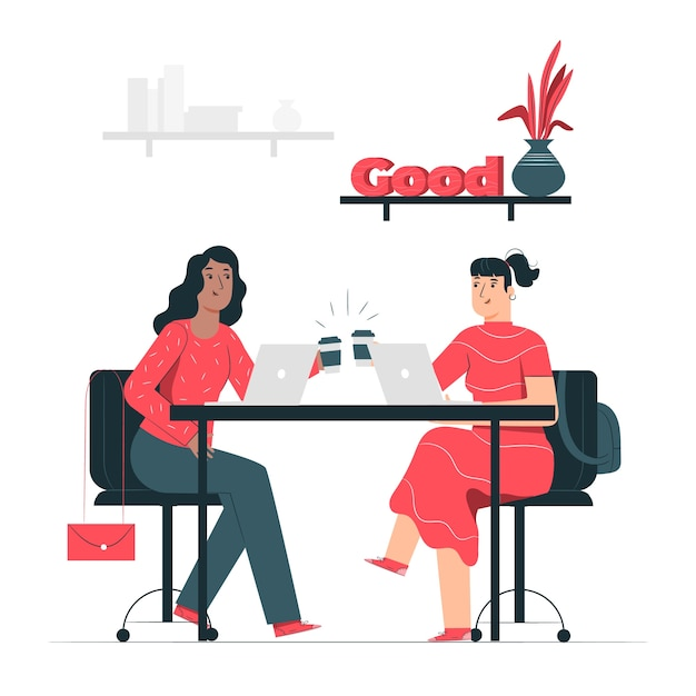 Ilustración conceptual compañeros de trabajo vector gratuito