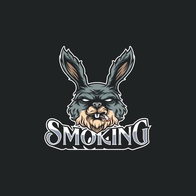 Ilustración de conejo fumando Vector Premium