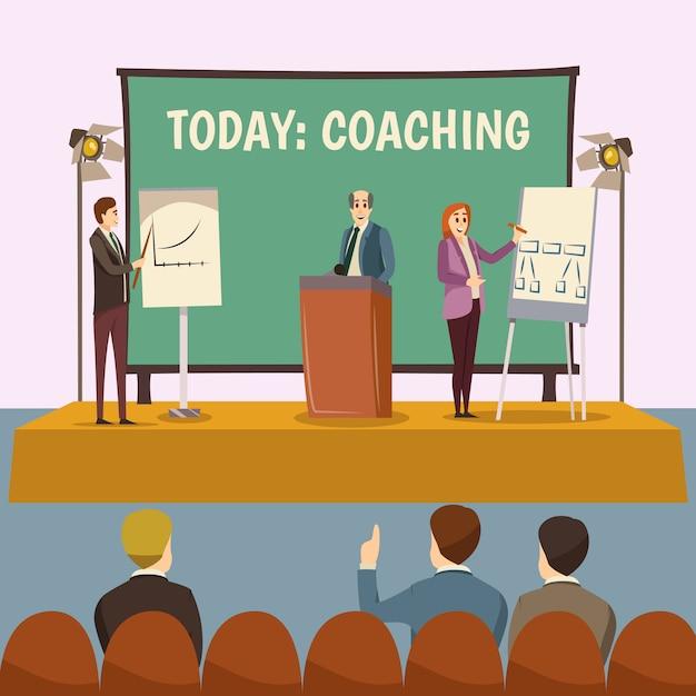 Ilustración de conferencia de coaching vector gratuito
