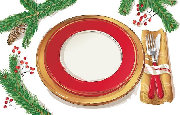 Ilustración de configuración de decoración de mesa de navidad Vector Premium