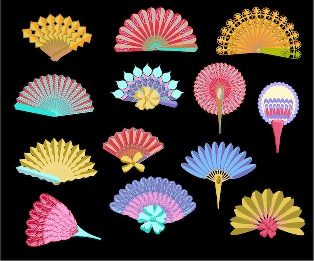 Ilustración de conjunto de abanico tradicional japonés, abanicos de papel vintage mujer. juego de abanicos tradicionales coloreados a mano, abanicos de pintura plegables de papel Vector Premium