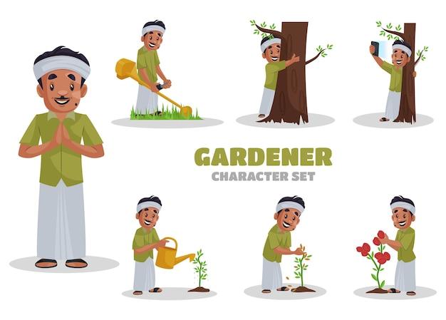 Ilustración del conjunto de caracteres de jardinero Vector Premium