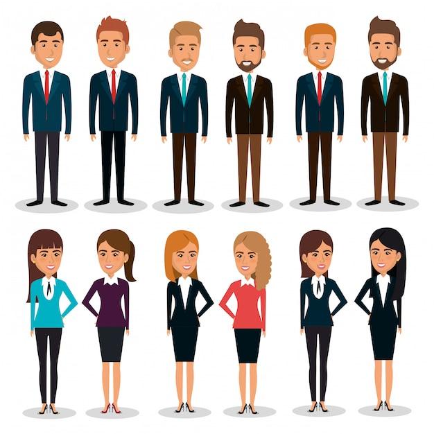 Ilustración de conjunto de caracteres de trabajo en equipo de empresarios vector gratuito