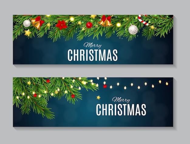 Ilustración de conjunto de colección de tarjetas de navidad y año nuevo de belleza abstracta. eps10 Vector Premium