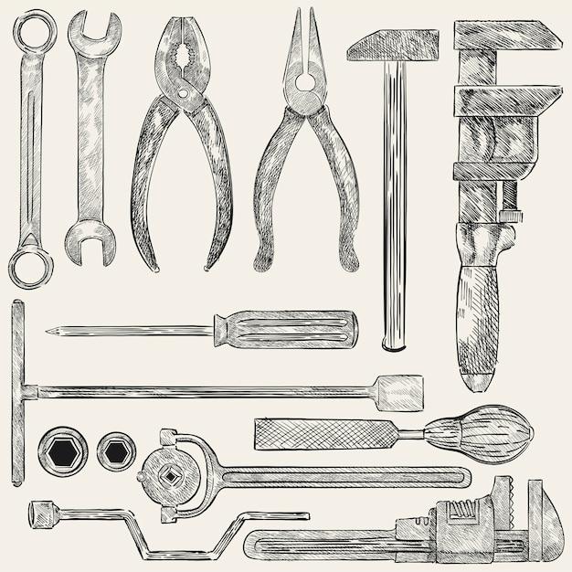Ilustración de un conjunto de herramientas mecánicas vector gratuito