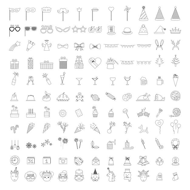 Ilustración de conjunto de iconos de fiesta de celebración vector gratuito