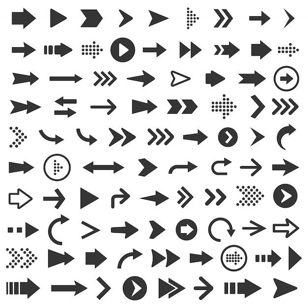 Ilustración del conjunto de iconos de flecha Vector Premium