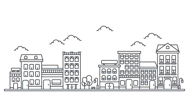 Ilustración de construcción en estilo de línea Vector Premium