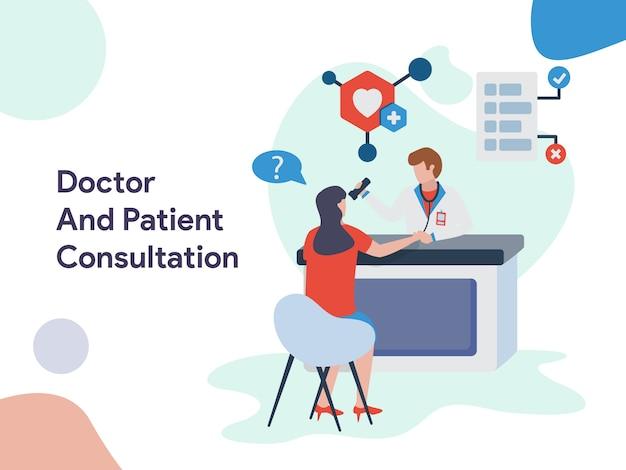 Ilustración de consulta médica y paciente Vector Premium