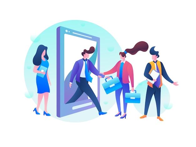 Ilustración de contratación de trabajadores Vector Premium